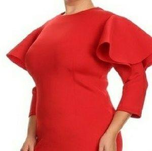 Dresses & Skirts - Ruffled-Sleeve Body con Dress